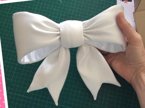 Custom duchess satin white bow